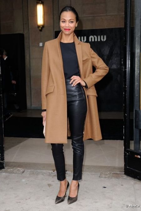 Zoe Saldana StyleChi Best Looks Camel Beige Brown Masculine Coat Black Top Leather Trousers