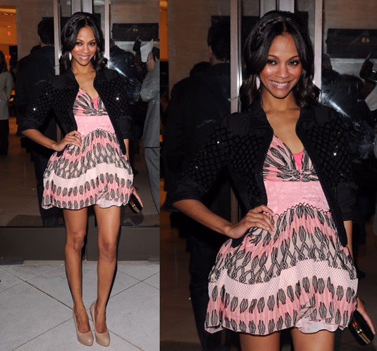Zoe Saldana StyleChi Best Looks Graphic Pattern Pink Mini Dress Black Quilted Effect Jacker Nude Patent Heels
