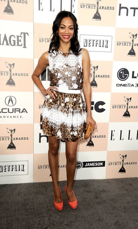 Zoe Saldana StyleChi Best Looks Independent Spirit Awards Lace Leopard Print Dolce And Gabbana Dress Orange Heels