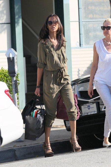 Zoe Saldana StyleChi Best Looks Khaki Cropped Shirt Playsuit Drawstring Waist Sunglasses Beige Strappy Heels Street Style