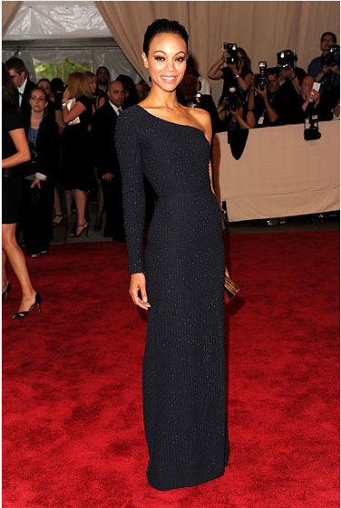 Zoe Saldana StyleChi Best Looks Red Carpet Black Long Sleeve Asymmetrical Textured Gown