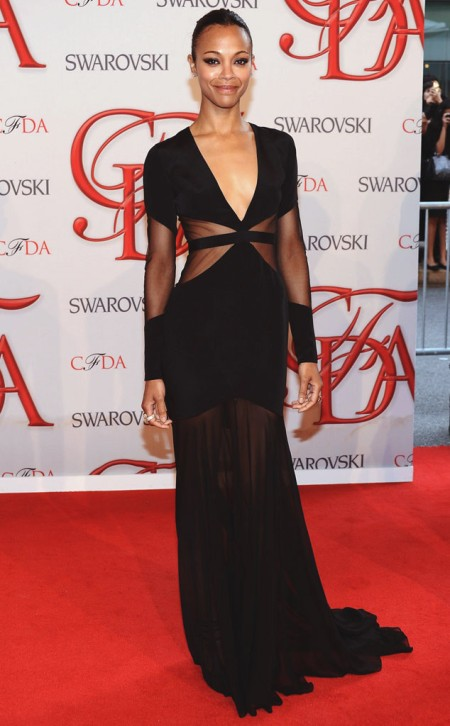 Zoe Saldana StyleChi Best Looks Red Carpet Black Long Sleeve Deep V Neck Plunge Sheer Panel Gown