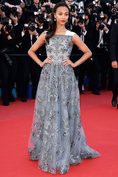 Zoe Saldana StyleChi Best Looks Red Carpet Floral Blue Grey Gown