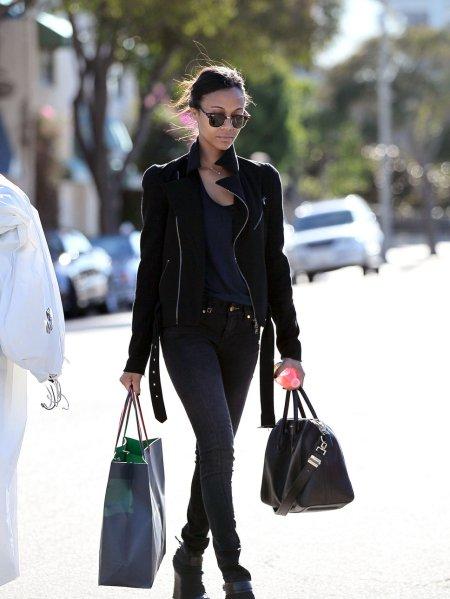 Zoe Saldana StyleChi Best Looks Street Style Biker Jacket Black Jeans T-Shirt Sunglasses