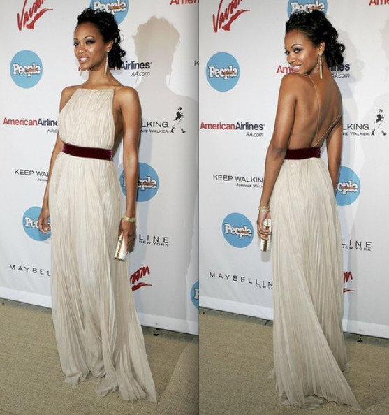 Zoe Saldana StyleChi Best Looks White Pleated Backless Gown Burgundy Velvet Waist