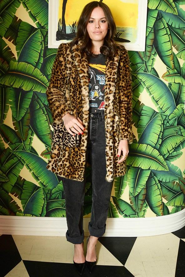 Atlanta-De-Cadenet-Taylor-Best-Looks-StyleChi-2013-Leopard-Fur-Coat-Band-T-Shirt-Black-Washed-Out-Boyfriend-Jeans-Pointed-Heels-Animal-Print-Bag