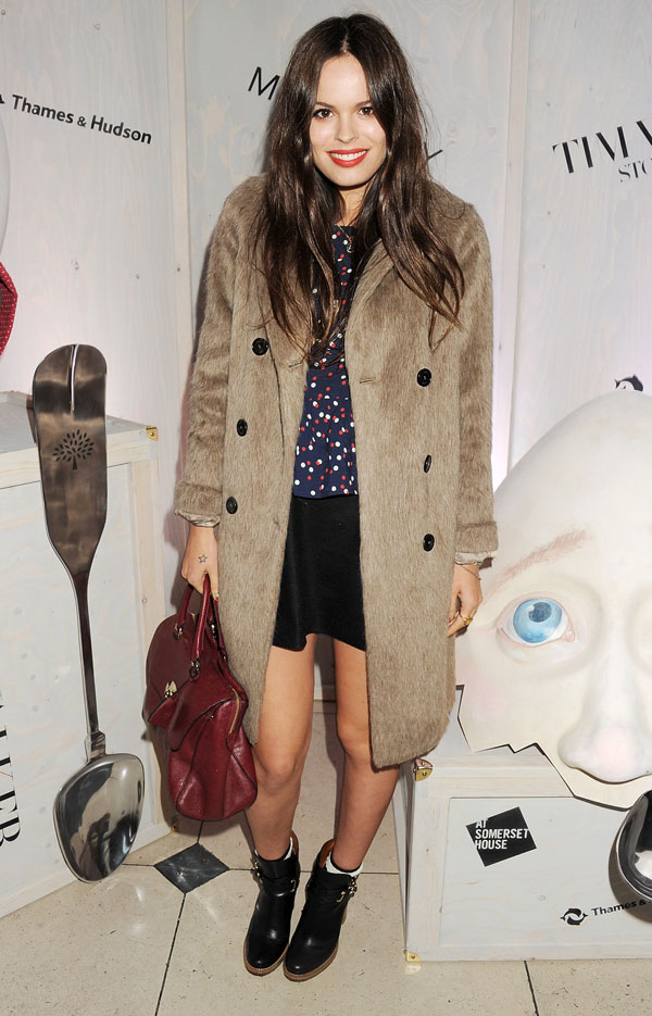 Atlanta-De-Cadenet-Taylor-Best-Looks-StyleChi-Brown-Fur-Coat-Black-Ankle-Boots-Burgundy-Bag-Skirt-Navy-Top