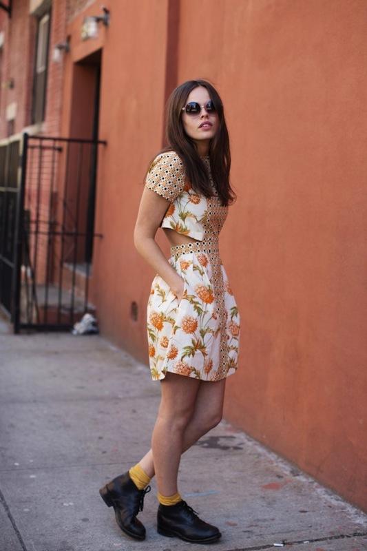 Atlanta-De-Cadenet-Taylor-Best-Looks-StyleChi-Cute-Floral-White-Orange-Cut-Out-Back-Dress-Black-Lace-Up-Ankle-Boots-Round-Sunglasses-Mustard-Socks