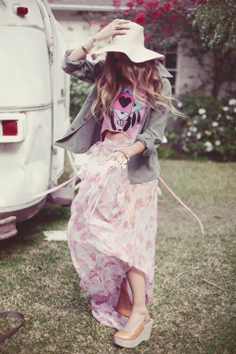 Atlanta-De-Cadenet-Taylor-Best-Looks-StyleChi-Hat-Army-Jacket-Floral-Maxi-Skirt-Peep-Toe-Wedges-Boho-Style