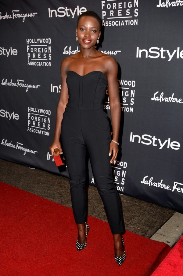 Lupita Nyong'O Red Carpet Best Looks StyleChi Black Strapless Playsuit White Polka Dot Heels