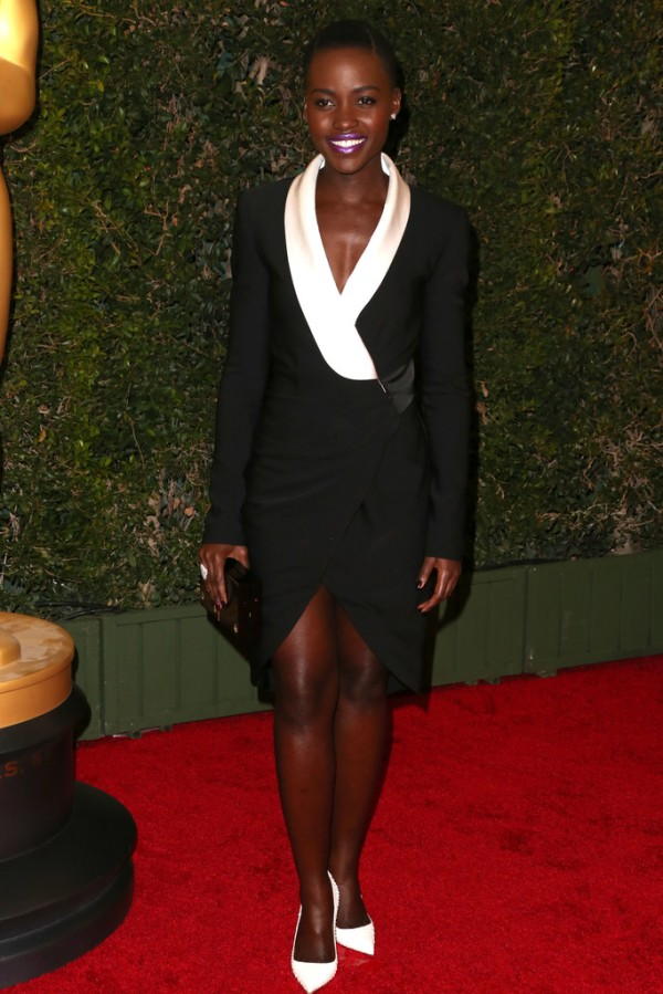 Lupita Nyong'O Red Carpet Best Looks StyleChi Black White Wrap Suit Jacket Dress