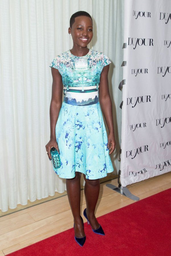 Lupita Nyong'O Red Carpet Best Looks StyleChi Blue White Patterned Dress Matching Heels