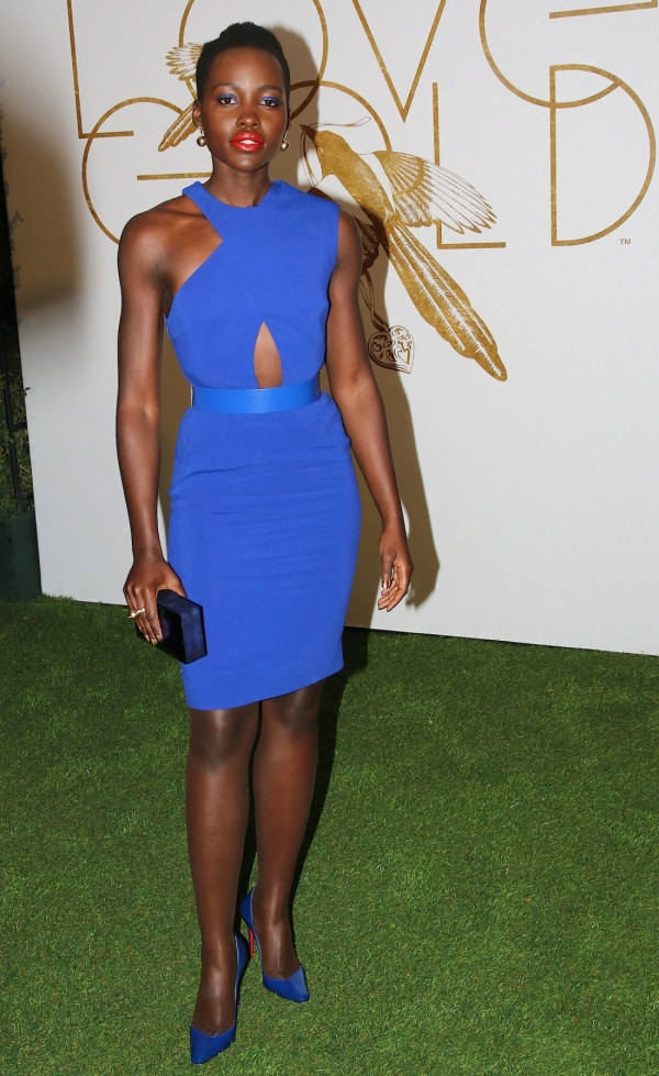 Lupita Nyong'O Red Carpet Best Looks StyleChi Cobalt Blue Asymmetrical Cut Out Dress