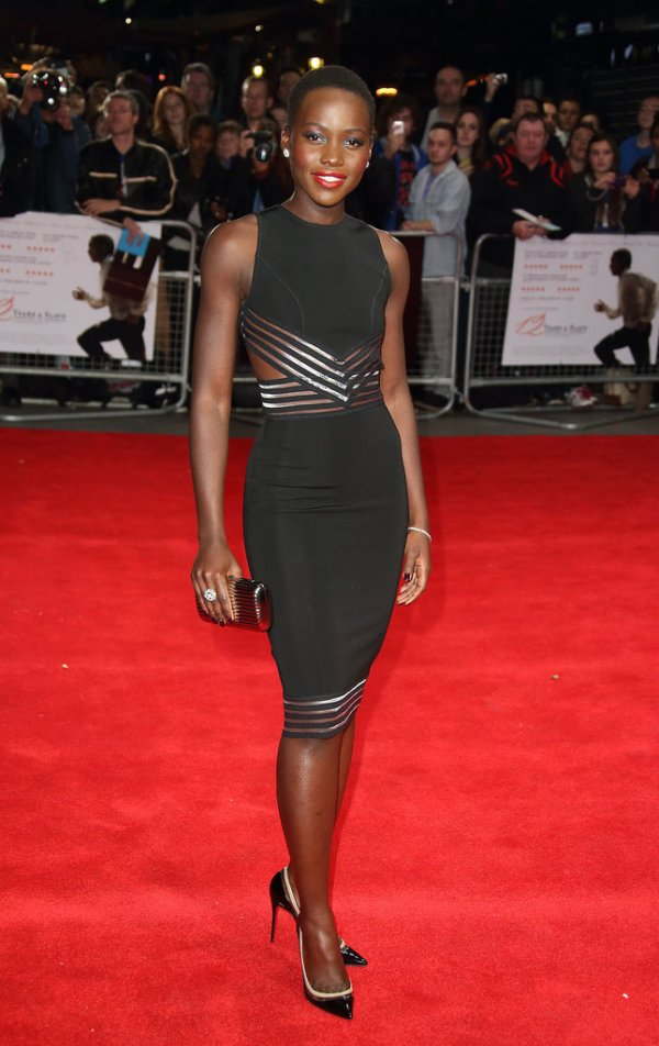 Lupita Nyong'O Red Carpet Best Looks StyleChi Cut Out Sleeveless Black Dress Metallic Stripes Premiere 12 Years A Slave