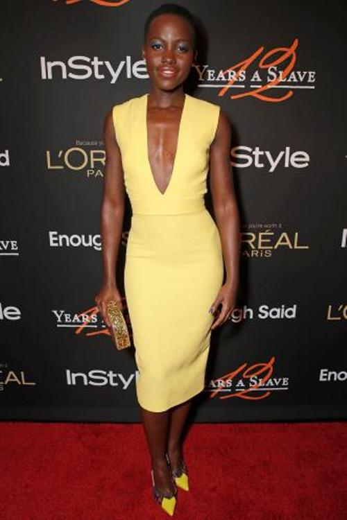 Lupita Nyong'O Red Carpet Best Looks StyleChi Deep Plunge V-Neck Yellow Half Sleeve Dress