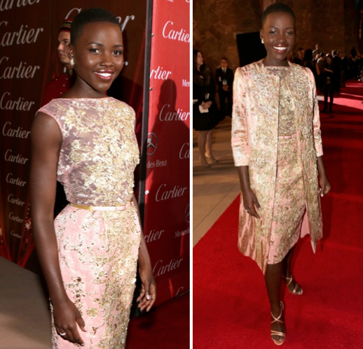 Lupita Nyong'O Red Carpet Best Looks StyleChi Elie Saab Dress Matching Coat Heels