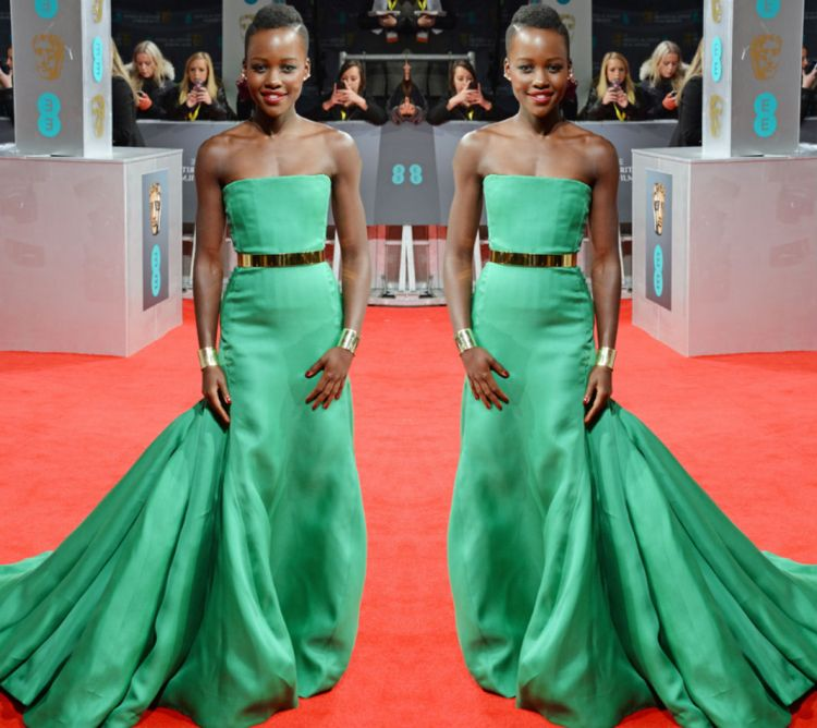 Lupita Nyong'O Red Carpet Best Looks StyleChi Green Strapless Gown Gold Belt Arm Cuffs