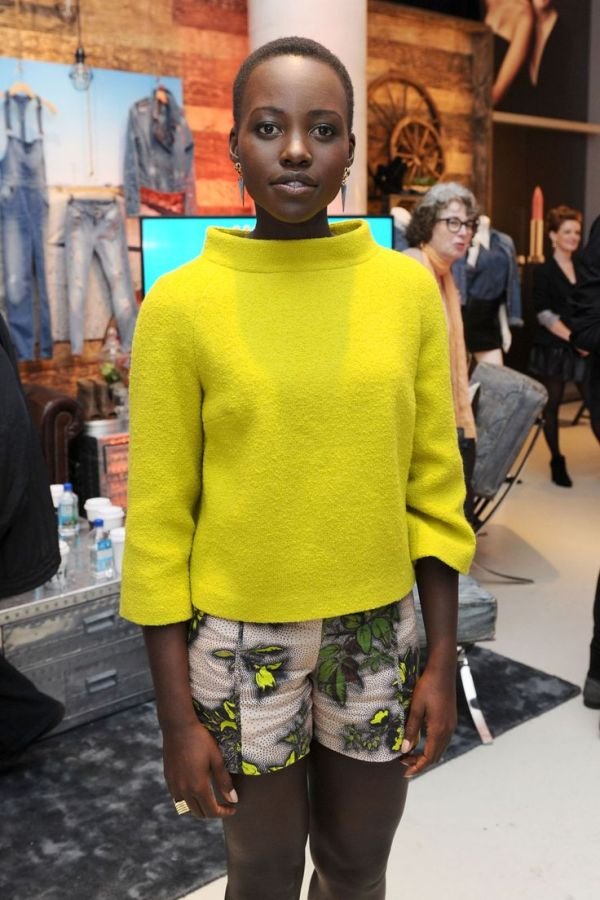 Lupita Nyong'O Red Carpet Best Looks StyleChi Neon Yellow Lime Green High Neck Sweater Patterned Shorts