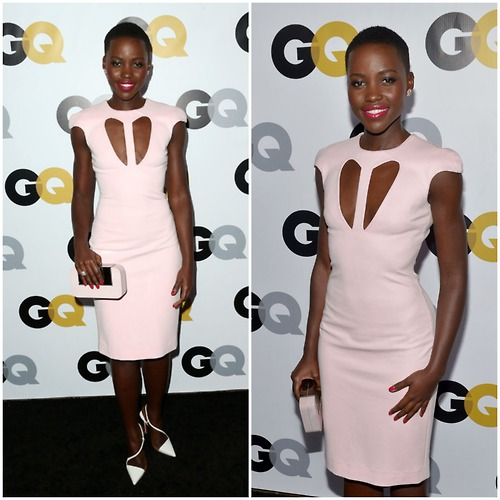 Lupita Nyong'O Red Carpet Best Looks StyleChi Pink Short Sleeve Cut Out Dress