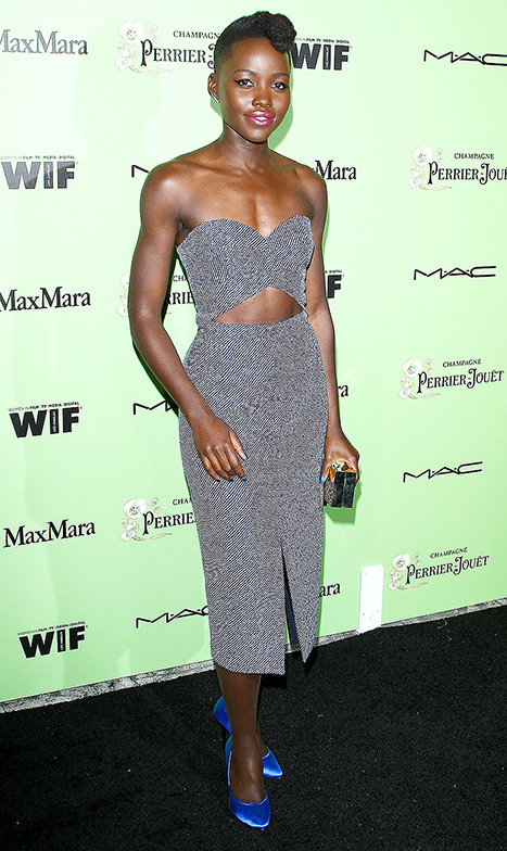 Lupita Nyong'O Red Carpet Best Looks StyleChi Strapless Crop Top Matching Pencil Skirt Blue Heels Rockabilly Haircut