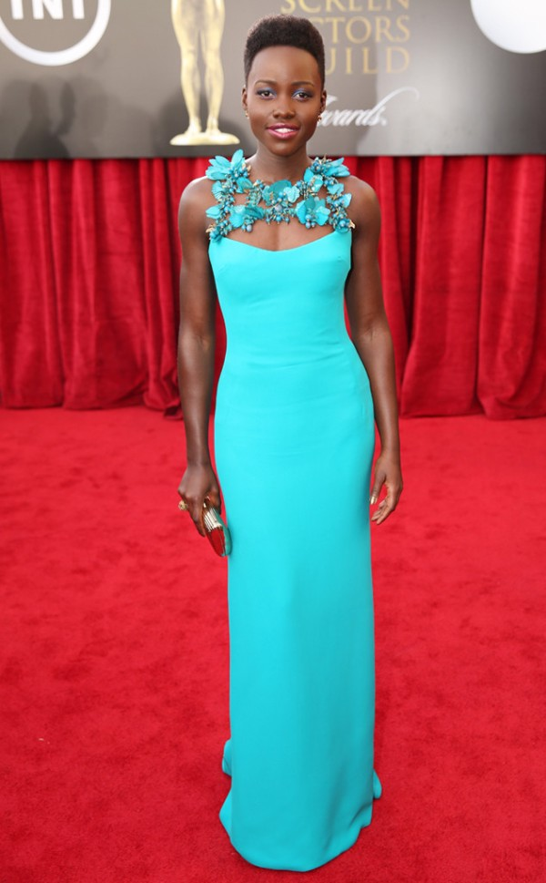 Lupita Nyong'O Red Carpet Best Looks StyleChi Turquoise Gown Embellished £D Floral Neck