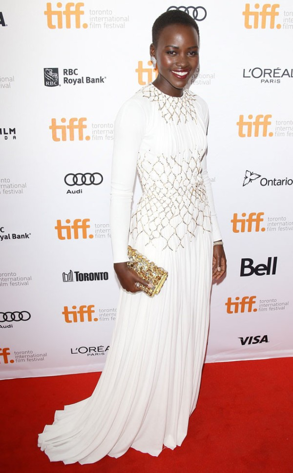 Lupita Nyong'O Red Carpet Best Looks StyleChi White Long Sleeve Embellished Gown
