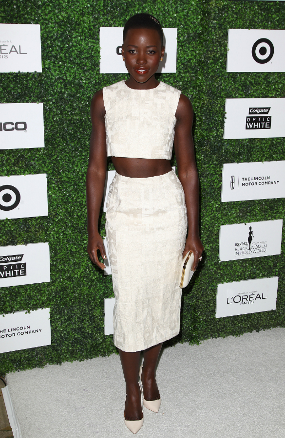 Lupita Nyong'O Red Carpet Best Looks StyleChi White Sleeveless Crop Top Pencil Skirt Pointed Heels