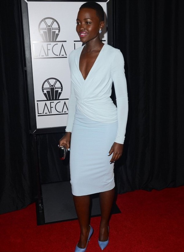 Lupita Nyong'O Red Carpet Best Looks StyleChi Wrap Deep V-Neck Dress Blue White