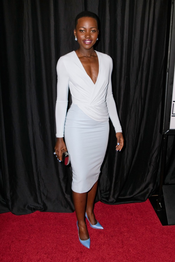 Lupita Nyong'O Red Carpet Best Looks StyleChi Wrap V-Neck Dress Blue White