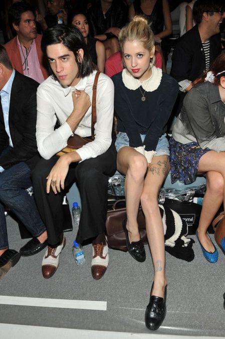 Peaches-Geldof-StyleChi-Best-Looks-Black-Long-Sleeve-White-Ruffle-Pan-Collar-Cuffs-Denim-Shorts-Mocassins-Husband