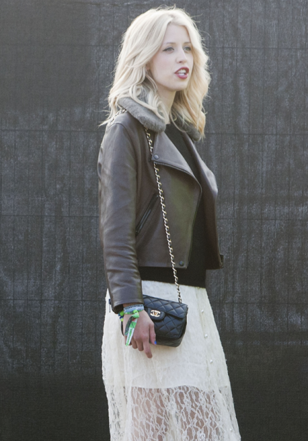 Peaches-Geldof-StyleChi-Best-Looks-Festival-Fashion-Glastonbury-2013-Brown-Leather-Jacket-White-Dress-Maxi-Lace-Overlay-Quilted-Chanel-Bag