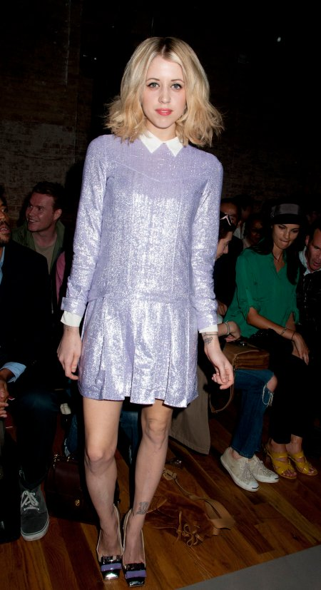 Peaches-Geldof-StyleChi-Best-Looks-Lilac-Sparkly-Glittery-Pleated-Short-Contrasting-White-Collar-Cuffs-Shirts-Dress