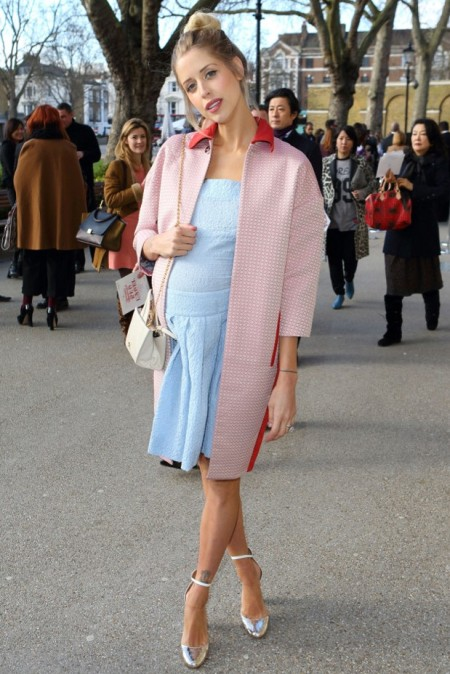 Peaches-Geldof-StyleChi-Best-Looks-Pink-Coat-Contrasting-Red-Collar-Light-Blue-Square-Collar-Drop-Waist-Pleated-Short-Dress-Baby-Bump-Silver-Heels