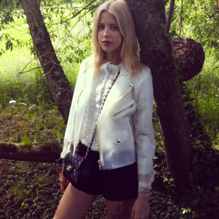 Peaches-Geldof-StyleChi-Best-Looks-Plastic-See-Through-Biker-Jacket-Black-Shorts-Lace-Ruffle-Top-Quilted-Chanel-Bag