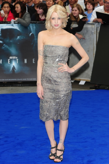 Peaches-Geldof-StyleChi-Best-Looks-Prometheus-Premiere-Strapless-Silver-Embellished-Midi-Dress-Black-Studded-Strappy-Sandals