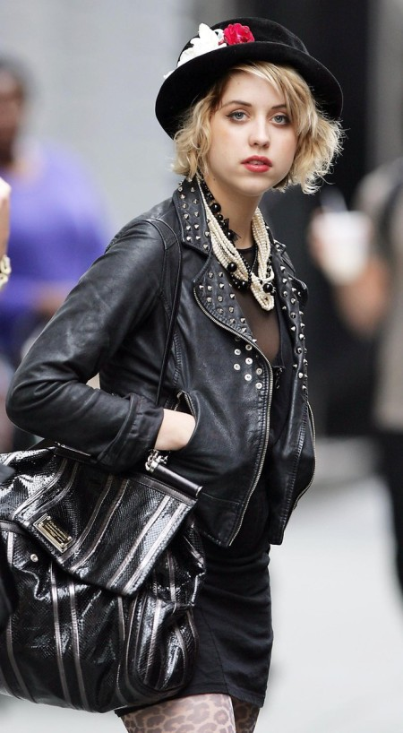 Peaches-Geldof-StyleChi-Best-Looks-Studded-Leather-Black-Jacket-Flower-Hat-Oversized-Bag-Leopard-Tights-Statement-Pearl-Necklace
