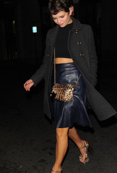 Pixie-Geldof-Best-Looks-StyleChi-Black-High-Neck-Crop-Top-Navy-High-Waist-Midi-Leather-Skirt-Grey-Coat-Leopard-Chain-Bag-Platform-Heels-Brunette