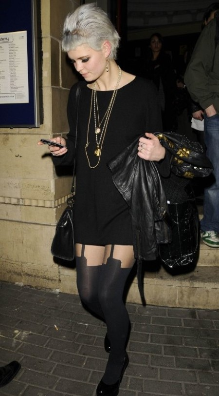 Pixie-Geldof-Best-Looks-StyleChi-Black-Long-Sleeve-Dress-Studded-Leather-Jacket-Multi-Chain-Necklace-Hold-Up-Tights-Grey-Hair-Patent-Heels