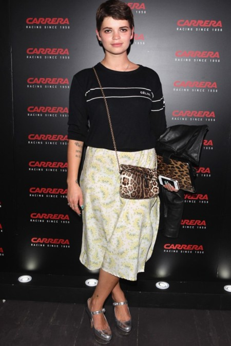 Pixie-Geldof-Best-Looks-StyleChi-Black-Sweater-Yellow-Blue-Floral-Midi-Skirt-Silver-Heels-Leopard-Chain-Bag-Brunetter-Pixie-Cut