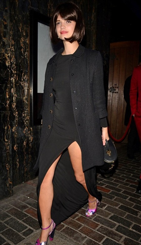 Pixie-Geldof-Best-Looks-StyleChi-Black-Textured-Coat-Split-Long-Black-Jersey-Dress-Pink-Heels-Dark-Brown-Fringe-Bob