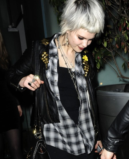 Pixie-Geldof-Best-Looks-StyleChi-Checked-Black-Grey-Shirt-Studded-Leather-Jacket-Statement-Chain-Earrings-Blonde-White-Crop