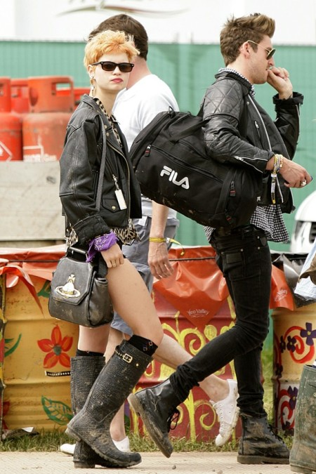 Pixie-Geldof-Best-Looks-StyleChi-Festival-Fashion-Sunglasses-Croc-Wellies-Leather-Jacket-Leopard-Shirt-Orange-Hair