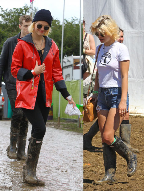 Pixie-Geldof-Best-Looks-StyleChi-Festival-Style-Wellies-Ripped-Shorts-Red-Parka-Round-Sunglasses-Blonde