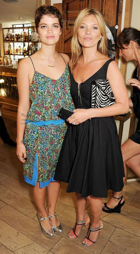 Pixie-Geldof-Best-Looks-StyleChi-Matching-Floral-Cami-Top-Split-Midi-Skirt-Silver-Heels-Brunette-Kate-Moss