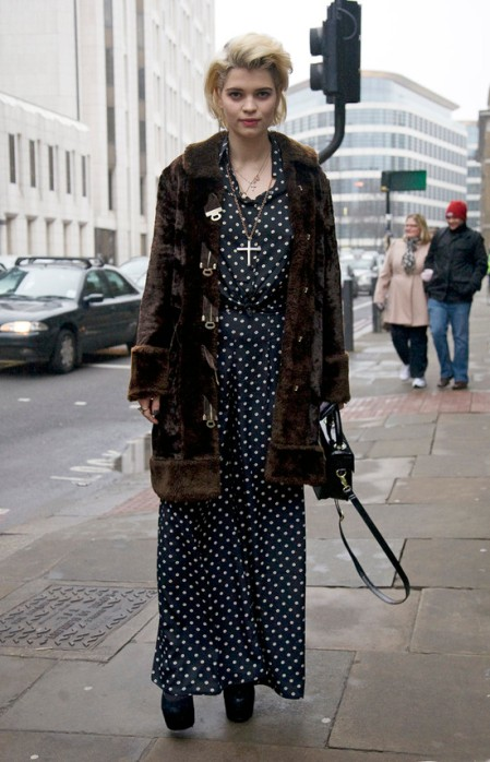 Pixie-Geldof-Best-Looks-StyleChi-Navy-Polka-Dot-Wide-Leg-Playsuit-Brown-Fur-Coat-Cross-Necklace-Blonde