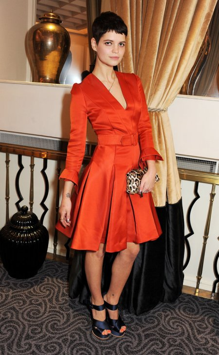 Pixie-Geldof-Best-Looks-StyleChi-Orange-Long-Sleeve-Pleated-V-Neck-Belted-Dress-Leopard-Clutch-Navy-Satin-Cross-Front-Heels-Black-Crop