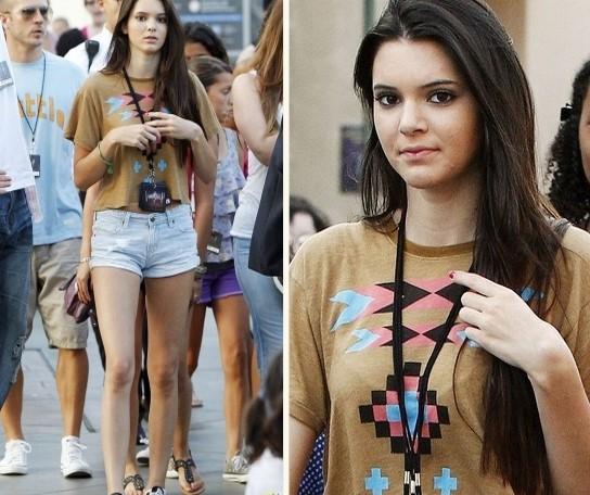 Kendall-Jenner-Street-Style-StyleChi-Best-Looks-Beige-Blue-Pink-Black-Aztec-Print-T-Shirt-Bleach-Denim-Shorts