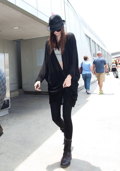 Kendall-Jenner-Street-Style-StyleChi-Best-Looks-Black-Leggings-Oversized-Draped-Cardigan-Hat-Sunglasses-Lace-Up-Biker-Boots-Grey-Crop-Top