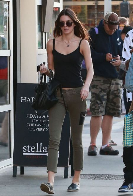 Kendall-Jenner-Street-Style-StyleChi-Best-Looks-Black-Tank-Top-Khaki-Zipped-Cropped-Trousers-Black-Side-Pocket