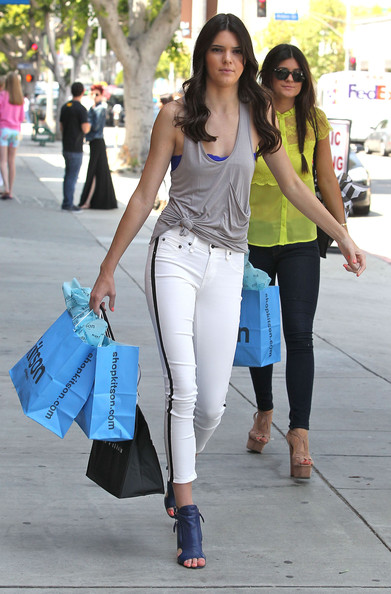Kendall-Jenner-Street-Style-StyleChi-Best-Looks-Grey-Knotted-Tank-Top-White-Black-Side-Stripe-Cropped-Skinny-Jeans-Blue-Peep-Toe-Shoe-Boots